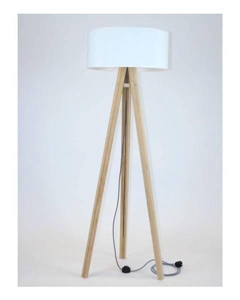 Ragaba Stojacia lampa s bielym tienidloma čierno-bielym káblom Ragaba Wanda