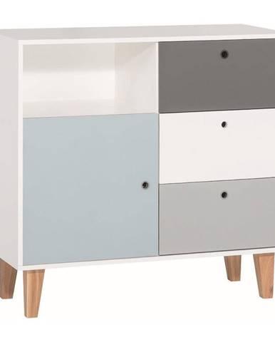 Bielo-sivá komoda s modrým detailom Vox Concept