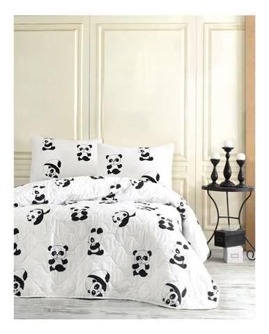 Set prehozu a 2 obliečok na vankúše EnLora Home Panda, 200 x 220 cm