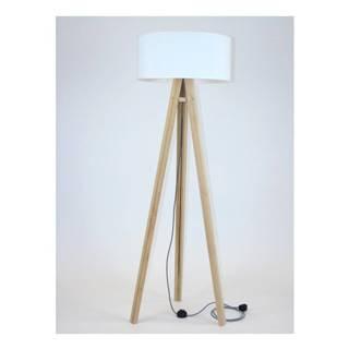 Stojacia lampa s bielym tienidloma čierno-bielym káblom Ragaba Wanda