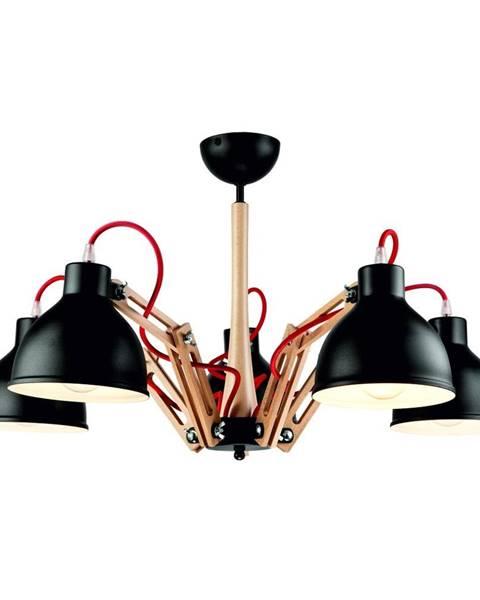 LAMKUR Čierne závesné svietidlo na 5 žiaroviek Lamkur Marcello