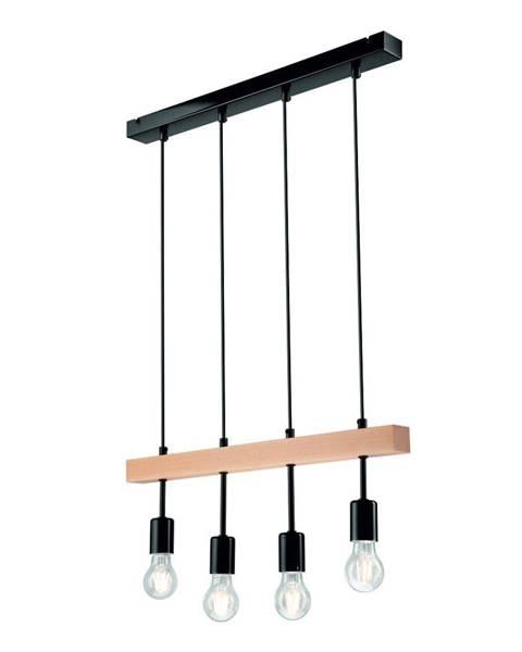 LAMKUR Čierne závesné svietidlo pre 4 žiarovky Lamkur Orazio