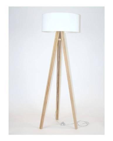 Stojacia lampa s bielym tienidlom a transparentným káblom Ragaba Wanda