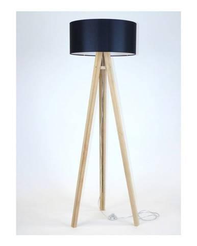Stojacia lampa s čiernym tienidlom a transparentným káblom Ragaba Wanda