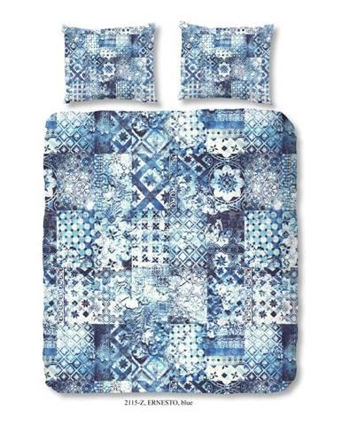 Obliečky na dvojlôžko z bavlneného saténu zouzou Sahara Azul, 200×200 cm