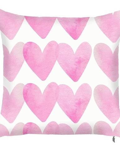 Ružová obliečka na vankúš Mike&Co.NEWYORK Corazones, 43 × 43 cm