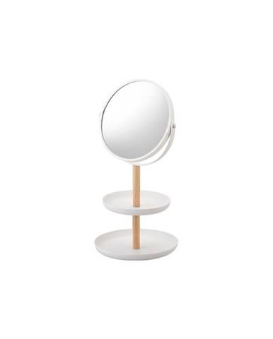 Biele zrkadlo s úložnými miskami a detailom z bukového dreva YAMAZAKI Tosca