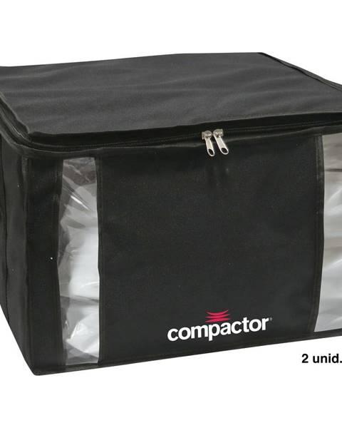 Compactor Čierny úložný box na oblečenie Compactor XXL Black Edition 3D Medium, 125 l