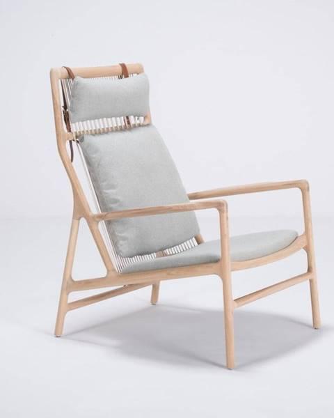 Gazzda Kreslo s konštrukciou z dubového dreva s modrosivým textilným sedadlom Gazzda Dedo