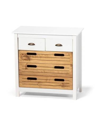 Biela komoda z borovicového dreva s 5 zásuvkami loomi.design Ibiza