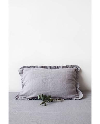 Svetlosivá ľanová obliečka na vankúš s riaseným lemom Linen Tales, 50 x 60 cm