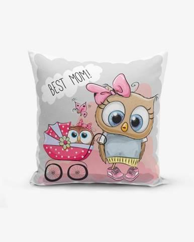 Obliečka na vaknúš s prímesou bavlny Minimalist Cushion Covers Best Mom Owl, 45×45 cm