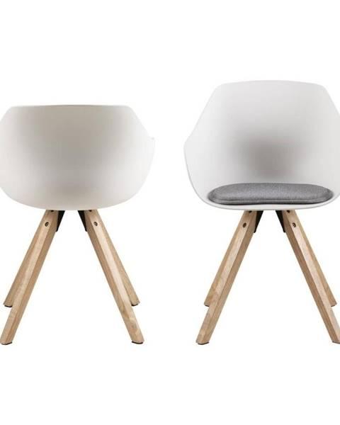 Actona Súprava 2 bielych jedálenských stoličiek s nohami z kaučukového dreva Actona Tina