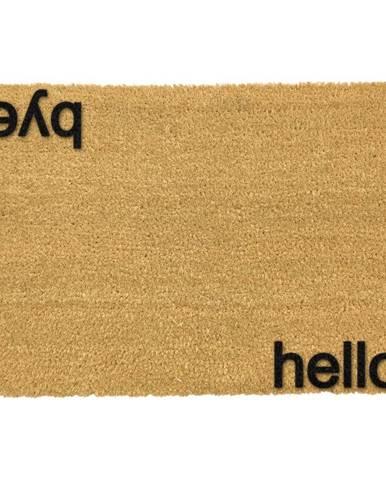 Čierna rohožka z prírodného kokosového vlákna Artsy Doormats Hello, Bye, 40 x 60 cm