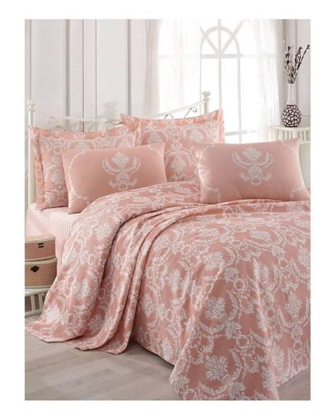 Eponj Home Lososovoružová bavlnená prikrývka na dvojlôžko s plachtou a s obliečkami na vankúše Anna, 200×235 cm