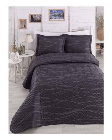 Čierny prešívaný ľahký pléd na dvojlôžko s obliečkami na vankúše Verda Grey, 200×220 cm