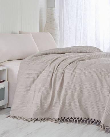 Hnedý bavlnený ľahký pléd na posteľ Brown, 220×240cm