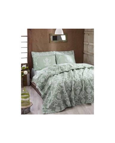 Ľahká prikrývka cez posteľ Pure Water Green,200x235cm