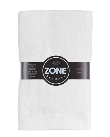 Biely bavlnený uterák Zone Classic, 50×100cm