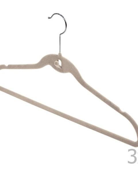 Domopak Sada 3 béžových vešiakov so zárezmi a nohavicovou tyčou Domopak Velvet