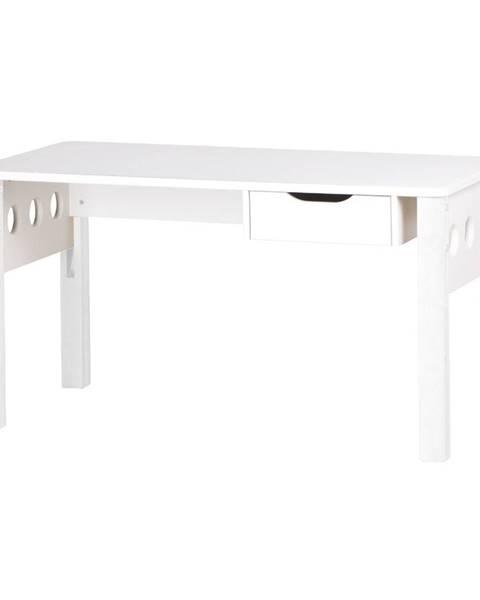 Flexa Biely písací stôl z brezového dreva s nastaviteľnou výškou Flexa