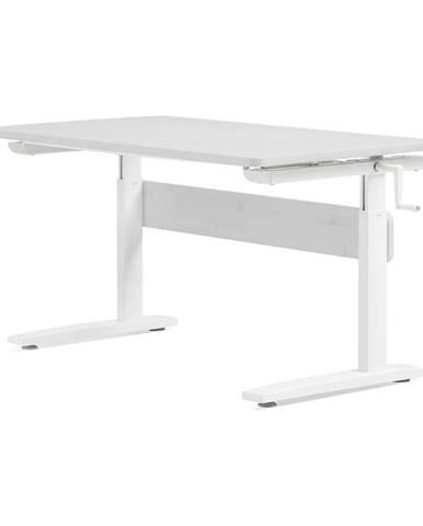 Biely písací stôl s nastaviteľnou výškou Flexa