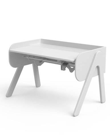 Biely písací stôl z borovicového dreva s nastaviteľnou výškou Flexa Woody