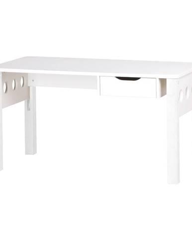 Biely písací stôl z brezového dreva s nastaviteľnou výškou Flexa