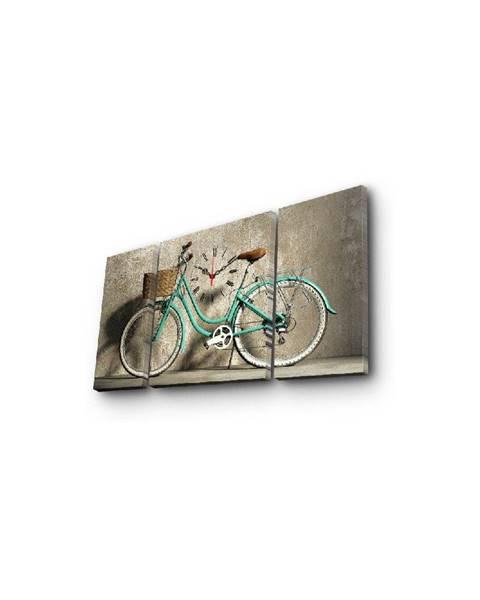 ClockArt Nástenné obrazové hodiny Bicykel, 84×45 cm