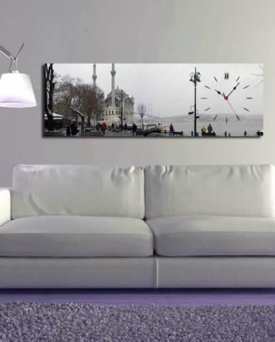 Obrazové hodiny V meste, 30×90 cm