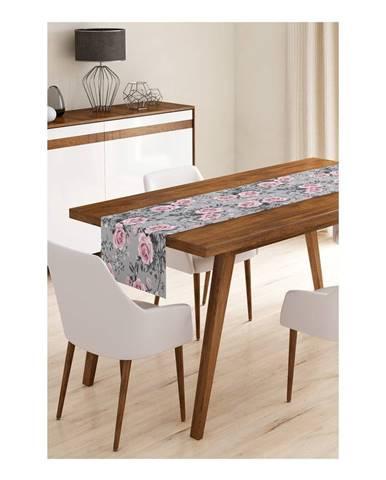 Behúň na stôl z mikrovlákna Minimalist Cushion Covers Grey Roses, 45×145 cm