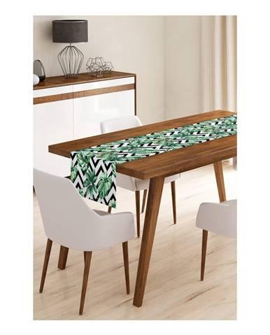 Behúň na stôl z mikrovlákna Minimalist Cushion Covers Jungle Leaves Stripes, 45×145 cm