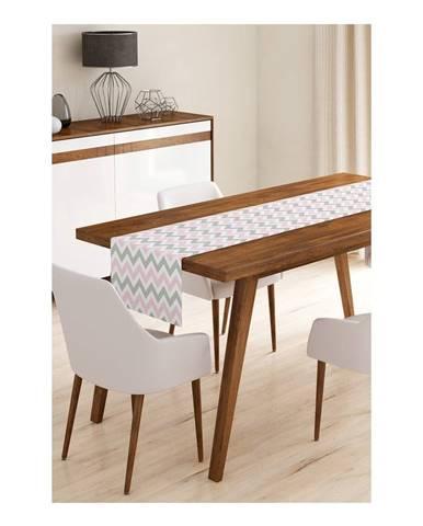 Behúň na stôl z mikrovlákna Minimalist Cushion Covers Pinky Grey Stripes, 45×145 cm