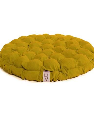 Horčicovožltý sedací vankúšik s masážnymi loptičkami Linda Vrňáková Bloom, Ø 65 cm