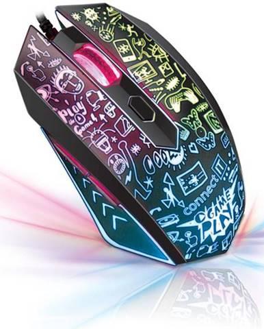 Myš  Connect IT Doodle čierna / optická / 6 tlačítek / 2000dpi