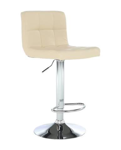 Barová stolička béžová ekokoža/chróm KANDY NEW