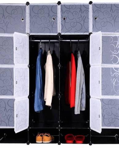 Modulárny šatníkový organizér čierna/mliečna biela RODAN TYP 2