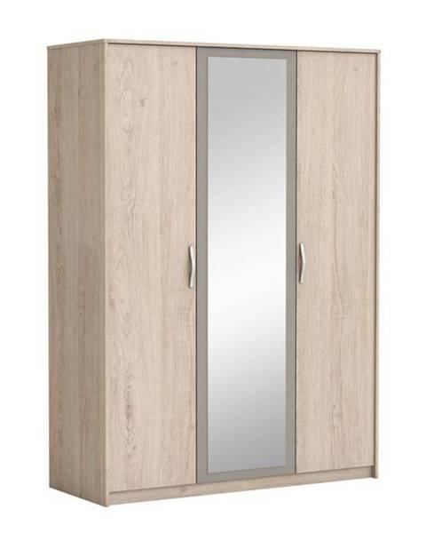 Kondela 3-dverová skriňa so zrkadlom dub arizona/sivá GRAPHIC