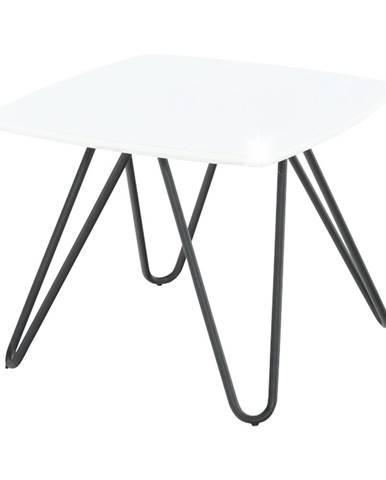 Príručný stolík biela vysoký lesk/čierna KANER 1