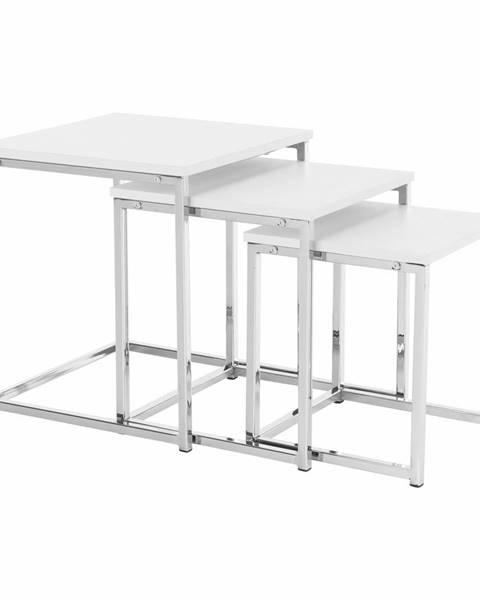 Kondela Set 3 konferenčných stolíkov biela matná/chróm MAGNO TYP 3