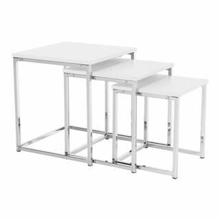 Set 3 konferenčných stolíkov biela matná/chróm MAGNO TYP 3