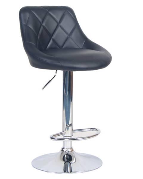Tempo Kondela Barová stolička čierna ekokoža/chrómová MARID