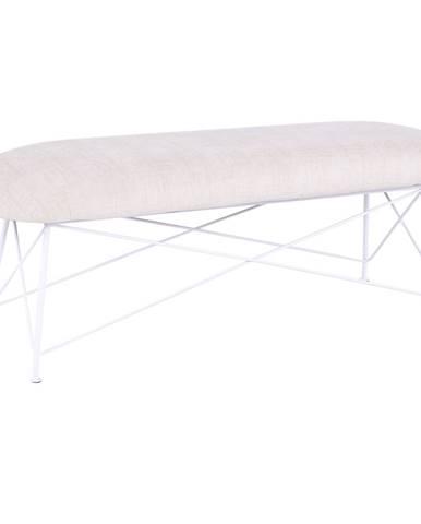 Dizajnová lavica béžová látka/biely kov RIVOLA