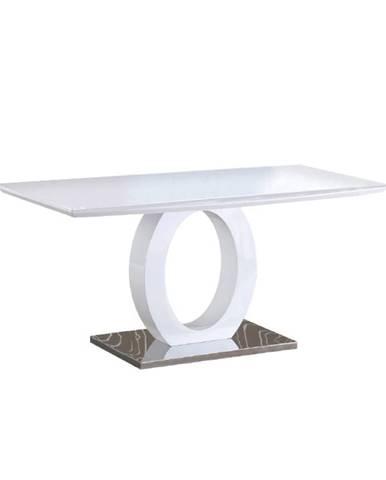 Jedálenský stôl biela vysoký lesk/oceľ ZARNI poškodený tovar