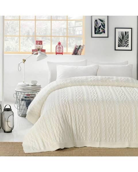 Homemania Svetlokrémová prikrývka cez posteľ Knit, 220 x 240 cm
