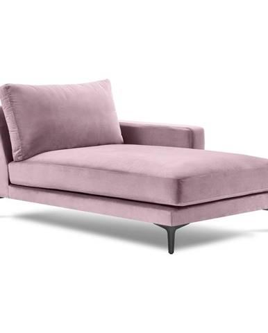 Ružová zamatová leňoška Kooko Home Harmony, pravý roh