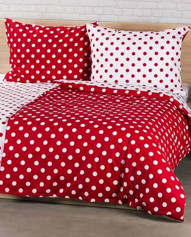 4Home bavlnené obliečky Bodka, červená, 140 x 200 cm, 70 x 90 cm