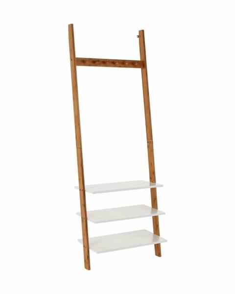 Tempo Kondela Vešiak s policami biela/bambus MARIKE TYP 2 rozbalený tovar