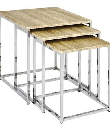 Prístavné stolíky TRES prírodná/kov