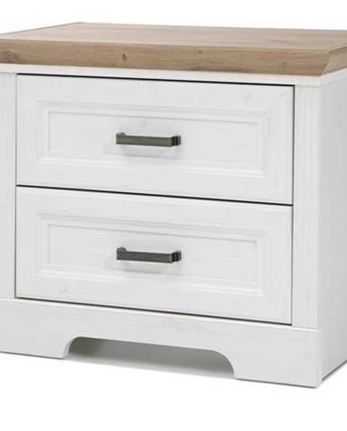 Nočný stolík JASMIN pínia biela/dub artisan
